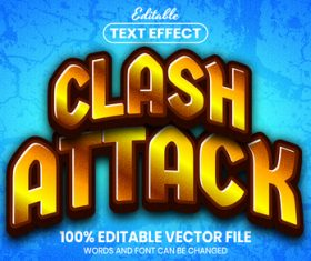 Clash attack text font style vector