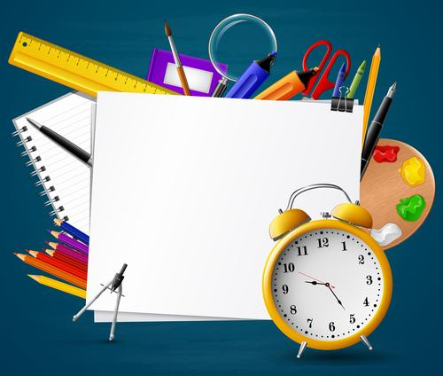 Clock whiteboard back to school background vector