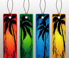 Coconut tree background label vector