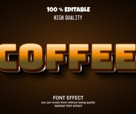 Coffee text font style vector