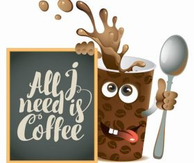 Coffee with text in blackboard vector