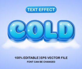Cold text effect vector