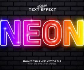 Color light font text effect vector