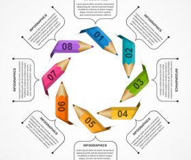 Color pencil origami infographic vector