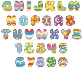 Colorful english alphabet cartoon vector