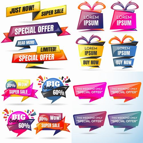 Colorful product label design vector