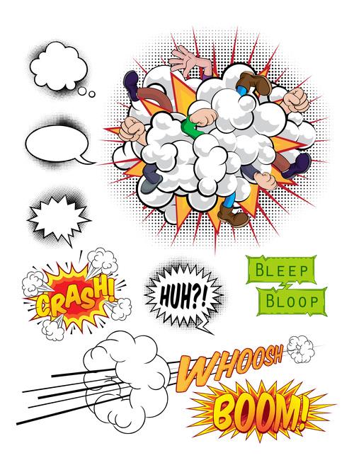 Comic book design elements vector