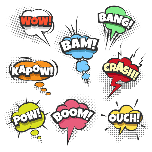 Comic bubbles with text in pop art style vector