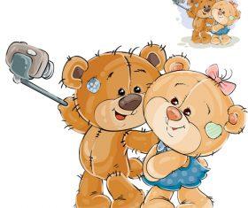 Couple selfie cartoon vector