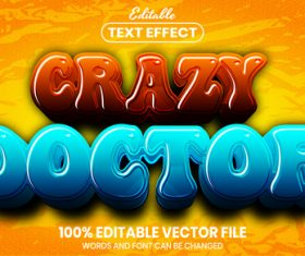 Crazy doctor text font style vector