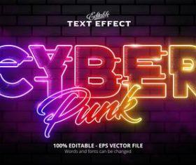 Cyberpunk text effect vector