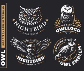 Dark background owl logo design vector