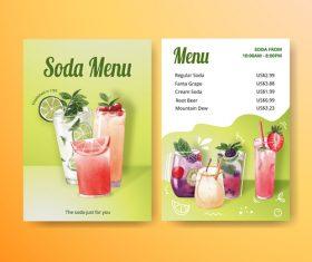 Delicious drink menu in vector