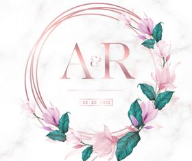Design rose gold round frame wedding invitation card vector