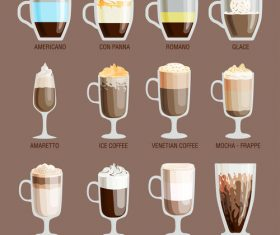 Different flavors of coffee vector