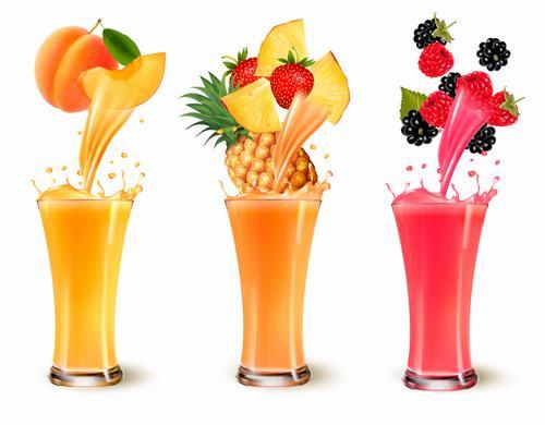 Different flavors of fresh juice vector