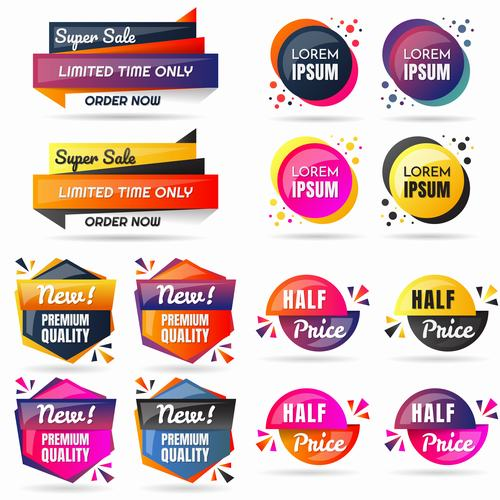 Different style design label vector