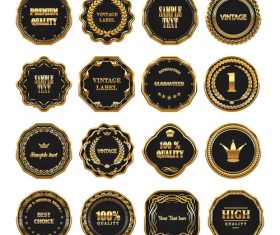 Different style golden labels collection vector