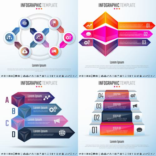 Different style infographic vector