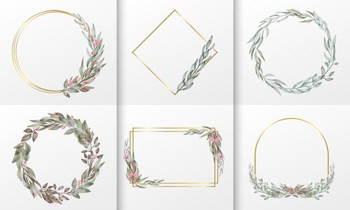 Diverse Watercolor floral frame vector