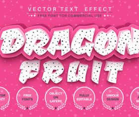 Dragon fruit font style effect vector