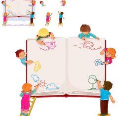 Draw on the book cartoon vector