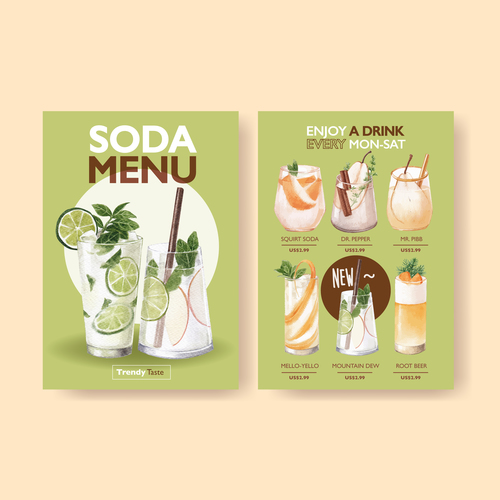 Drink menu in vector