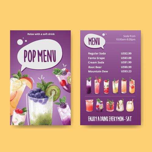 Drink shop menu vector