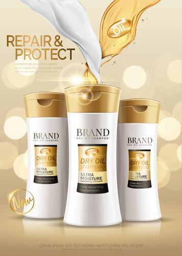 Dry oil conditioner advertising vector