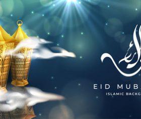 Eid mubarak islamic background vector