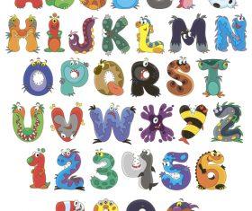 English alphabet cartoon vector