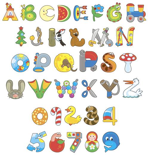 English alphabet funny cartoon vector