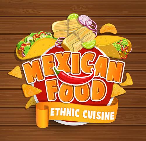 Ethnic cuisine stickers vector