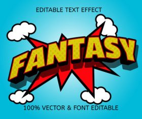 Fantasy color yellow red editable text effect vector