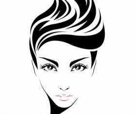 Fashion girl hairstyle vector