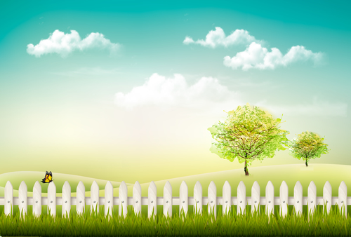 Fence vector on green grass