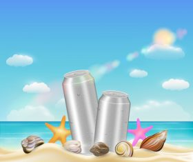 Filling drink on the beach vector