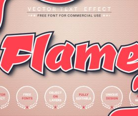 Flame font style effect vector