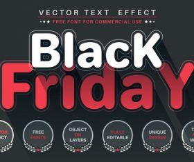 Flat black friday vector text effect