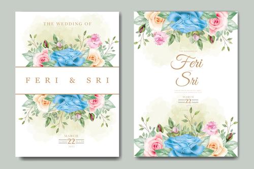 Floral creative wedding card vector