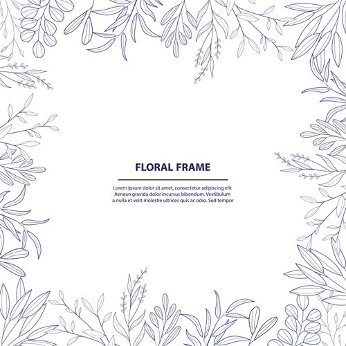 Floral frame hand drawn vector