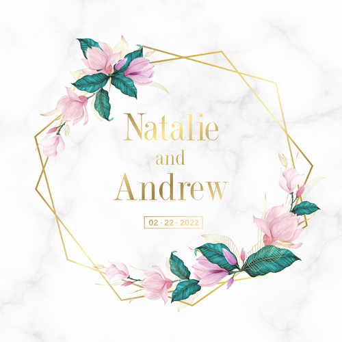 Floral marble background wedding invitation card vector
