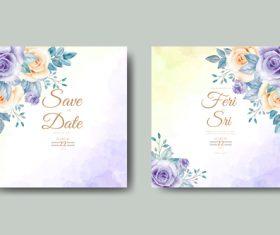 Floral watercolor wedding card vector