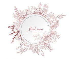 Flower decorative round frame hand drawn vector