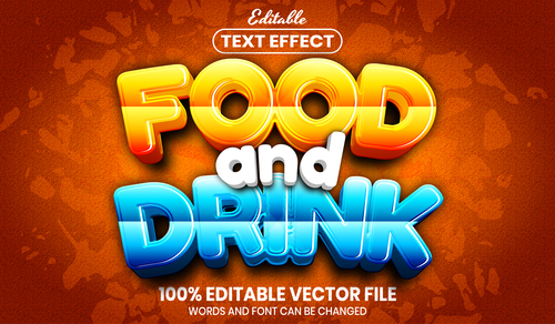 Food and drink text font style vector