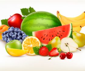 Food background with fresh fruits vector