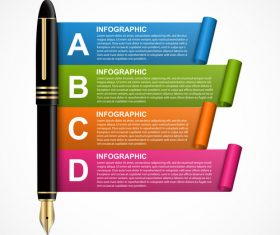 Fountain pen and information banner vector