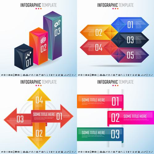 Four different styles infographic vector