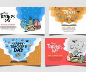 Four different styles of teacher's day congratulation cards vector