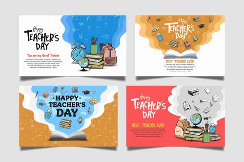 Four different styles of teachers day congratulation cards vector